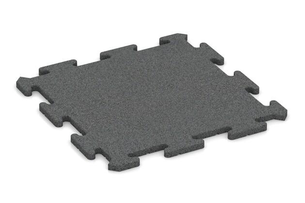 Fitness-Bodenschutzmatte von WARCO im Farbdesign schiefergrau mit den Abmessungen 500 x 500 x 18 mm. Produktfoto von Artikel 0191 in der Aufsicht von schräg vorne.
