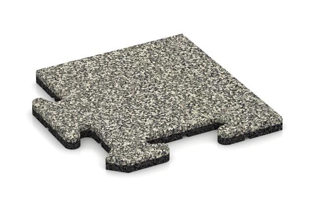 Eck-Abschlussplatte pro (4 Stück) von WARCO im Farbdesign Heller Granit mit den Abmessungen 235 x 235 x 18 mm. Produktfoto von Artikel 4735 in der Aufsicht von schräg vorne.