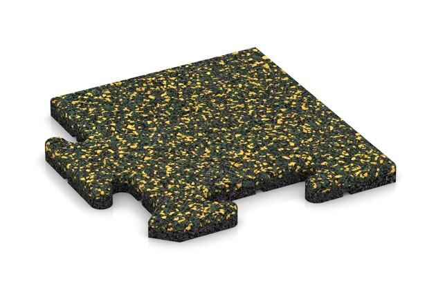 Eck-Abschlussplatte (4 Stück) von WARCO im Farbdesign Löwenzahn mit den Abmessungen 235 x 235 x 18 mm. Produktfoto von Artikel 4708 in der Aufsicht von schräg vorne.