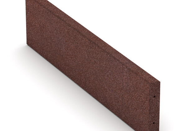 Gummi-Randstein (Tiefbord) von WARCO im Farbdesign schokobraun mit den Abmessungen 1000 x 250 x 50 mm. Produktfoto von Artikel 2592 in der Aufsicht von schräg vorne.