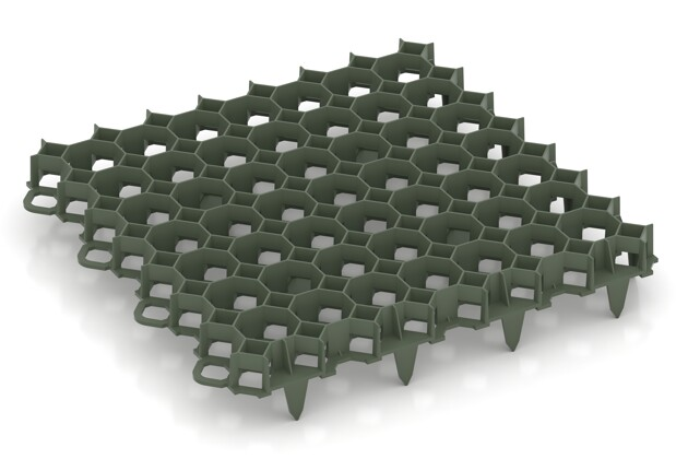 Kunststoff-Wabengitter von WARCO im Farbdesign mattgrün mit den Abmessungen 476 x 476 x 40 mm. Produktfoto von Artikel 3634 in der Aufsicht von schräg vorne.