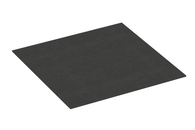 Gummigranulat-Platte von WARCO im Farbdesign anthrazit mit den Abmessungen 1000 x 1000 x 7 mm. Produktfoto von Artikel 4388 in der Aufsicht von schräg vorne.