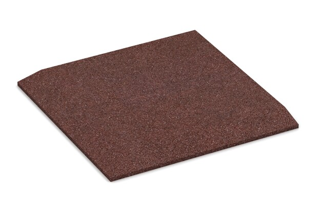 Eck-Platte (zwei Seiten abgeschrägt) von WARCO im Farbdesign schokobraun mit den Abmessungen 500 x 500 x 30 mm. Produktfoto von Artikel 0463 in der Aufsicht von schräg vorne.