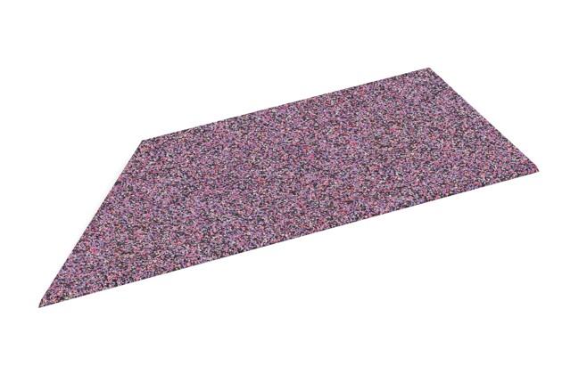 linke Eck-Keilhälfte von WARCO im Farbdesign Lavendel mit den Abmessungen 750 x 300 x 25/8 mm. Produktfoto von Artikel 2103 in der Aufsicht von schräg vorne.