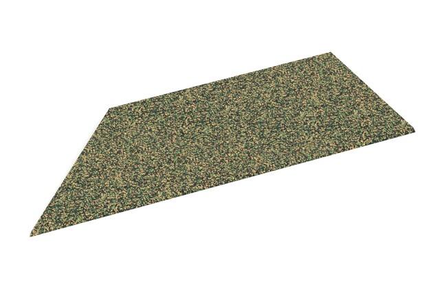 linke Eck-Keilhälfte von WARCO im Farbdesign Savanne mit den Abmessungen 750 x 300 x 25/8 mm. Produktfoto von Artikel 2099 in der Aufsicht von schräg vorne.